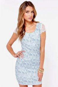 Ooh La Lacy Ivory and Blue Lace Dress at Lulus.com!