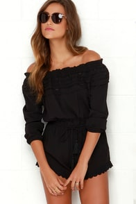 Lace Like This Black Off-the-Shoulder Romper at Lulus.com!