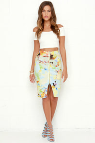 JOA Bold Move Yellow Print Pencil Skirt at Lulus.com!
