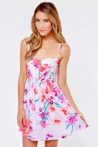 Roxy Shore Thing Neon Pink Floral Print Dress