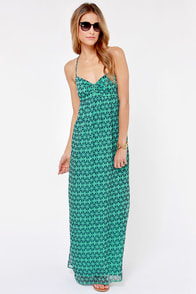 Roxy Solar Eclipse Blue and Teal Print Maxi Dress at Lulus.com!