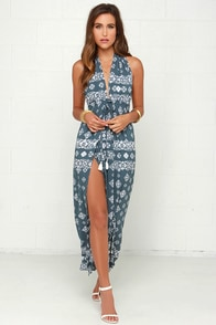 Faithfull the Brand Promenade Slate Blue Print Maxi Dress at Lulus.com!