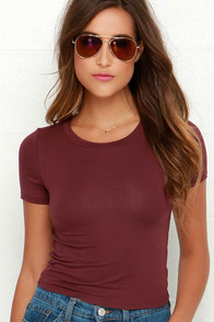 Basic Instinct Burgundy Crop Tee at Lulus.com!