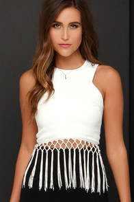 JOA Far Gaze Ivory Fringe Crop Top at Lulus.com!