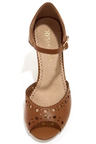Restricted Darci Tan Cutout Peep Toe Heels at Lulus.com!