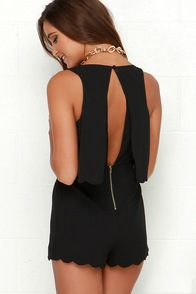 Ahead of the Curves Scalloped Black Romper at Lulus.com!
