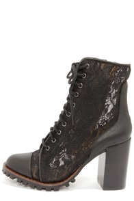 Report Signature Allon Black Lace High Heel Booties at Lulus.com!