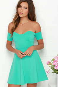 Tea Cup Mint Green Off-the-Shoulder Dress at Lulus.com!