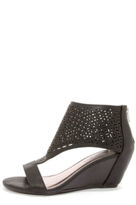 Madden Girl Harrp Black Cutout Peep Toe Wedge Booties