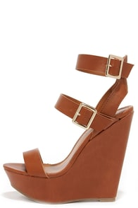 Double Decker Tan Platform Wedge Sandals at Lulus.com!