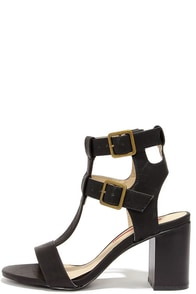Show Business Black Caged Heels at Lulus.com!