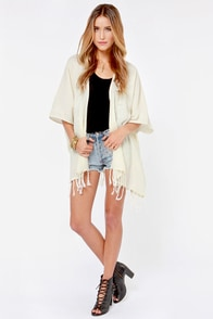 Billabong Whisper With Me Cream Kimono Top at Lulus.com!