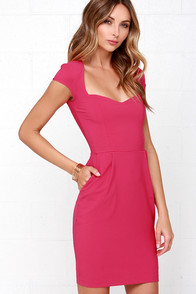 Pretty Fuchsia Dress Sheath Dress Cocktail Dress 48 00