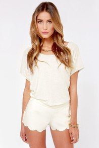 Scallop the Ante Ivory Vegan Leather Shorts