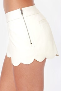 Scallop the Ante Ivory Vegan Leather Shorts at Lulus.com!