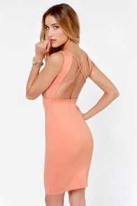 X-pect the Best Backless Peach Dress at Lulus.com!