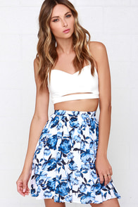 Posy on Over Ivory Floral Print Skirt at Lulus.com!