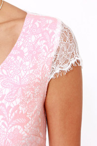 Ooh La Lacy Ivory and Pink Lace Dress at Lulus.com!