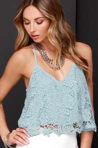 Shy Cloud Light Blue Lace Crop Top at Lulus.com!