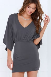 Parade Wave Dark Grey Dress at Lulus.com!