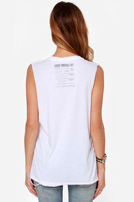 Laundry Room 100% Single Distressed White Muscle Tee at Lulus.com!