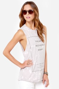Laundry Room Freakin Weekend Distressed Grey Muscle Tee at Lulus.com!