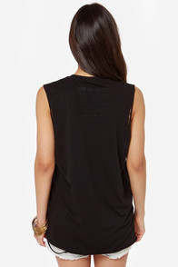 Laundry Room TGIF Distressed Black Muscle Tee at Lulus.com!