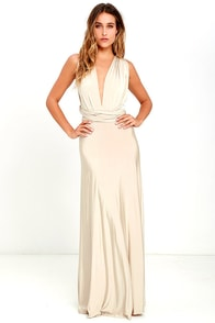 Always Stunning Convertible Beige Maxi Dress at Lulus.com!