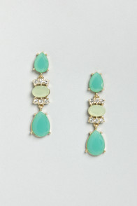Let's Say I Dewdrop Teal Rhinestone Earrings at Lulus.com!