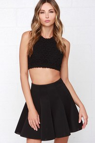 Inquisitive Kitten Black Skater Skirt at Lulus.com!