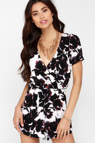 Evening Blooms Ivory Print Romper at Lulus.com!