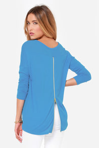 Zip to My Lou Blue Sweater Top at Lulus.com!