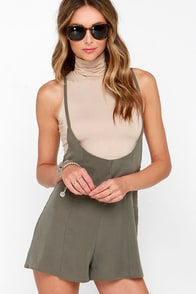 Suspend My Time Olive Green Suspender Shorts at Lulus.com!