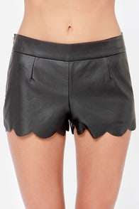 Scallop the Ante Black Vegan Leather Shorts at Lulus.com!