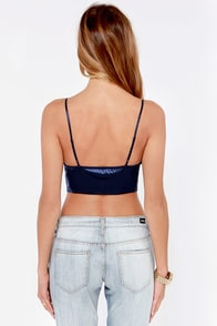 LULUS Exclusive Disco Diva Navy Blue Crop Top at Lulus.com!