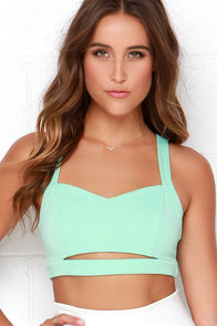 Barefoot Cay Strappy Mint Green Crop Top at Lulus.com!
