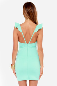 Everyday I'm Rufflin' Mint Blue Bodycon Dress at Lulus.com!