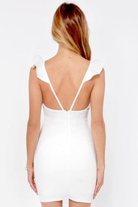 Everyday I'm Rufflin' Ivory Bodycon Dress at Lulus.com!