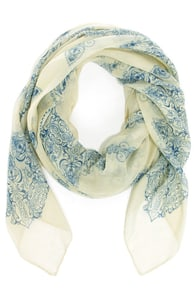 Hazy Days Light Sage and Blue Print Scarf