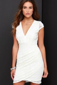 Lace-ies Night Ivory Lace Dress at Lulus.com!