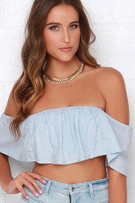 Ruf-full Moon Light Blue Off-the-Shoulder Crop Top at Lulus.com!