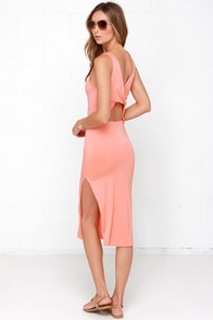 Knot What it Seems Peach Midi Dress at Lulus.com!