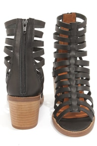 Sixtyseven 75935 Aiden Vachetta Black Caged High Heel Sandals