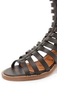 Sixtyseven 75935 Aiden Vachetta Black Caged High Heel Sandals at Lulus.com!
