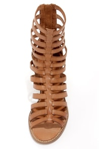 Sixtyseven 75935 Aiden Vachetta Caramelo Caged High Heel Sandals at Lulus.com!