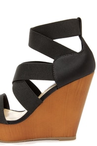 Steve Madden Val Black Strappy Platform Wedges at Lulus.com!