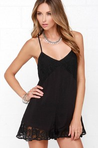 Ladakh One Love Black Lace Romper at Lulus.com!