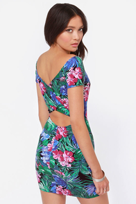 Tropical Me Sometime Green Floral Print Dress