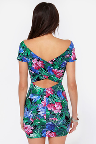 Tropical Me Sometime Green Floral Print Dress at Lulus.com!