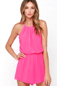 Borrow a Kiss Hot Pink Romper at Lulus.com!